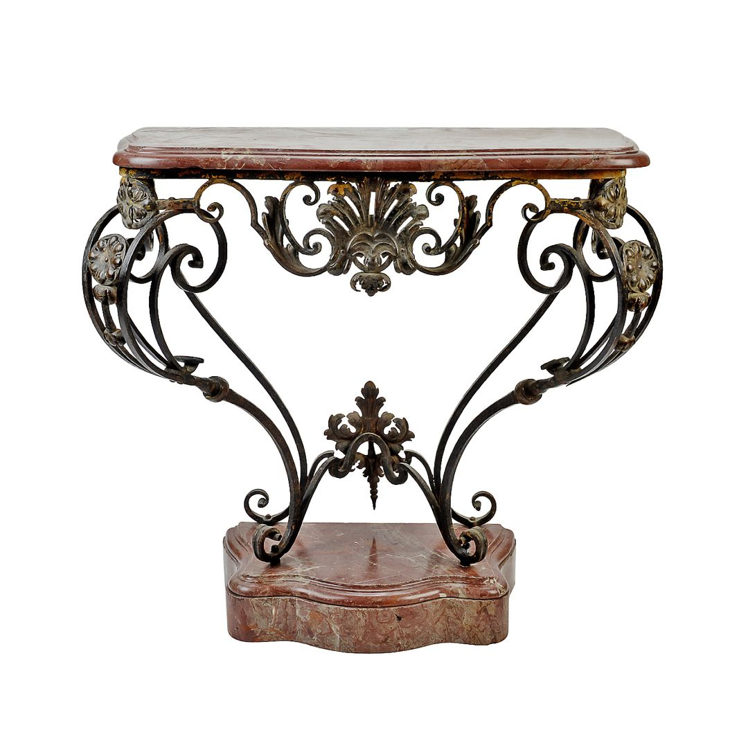 French antique louis xv wrought iron console table with marble top french antique louis xv wrought iron console table with marble top and plinth geotapseo Choice Image