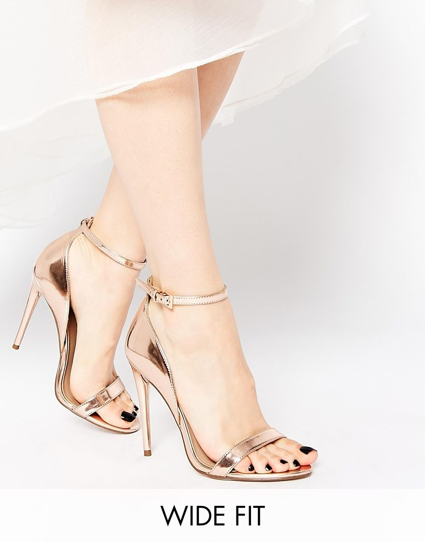 f882e20e9294 Look stunning with this ASOS HONEY Wide Fit Heeled Sandals - Nudemetallic -  http