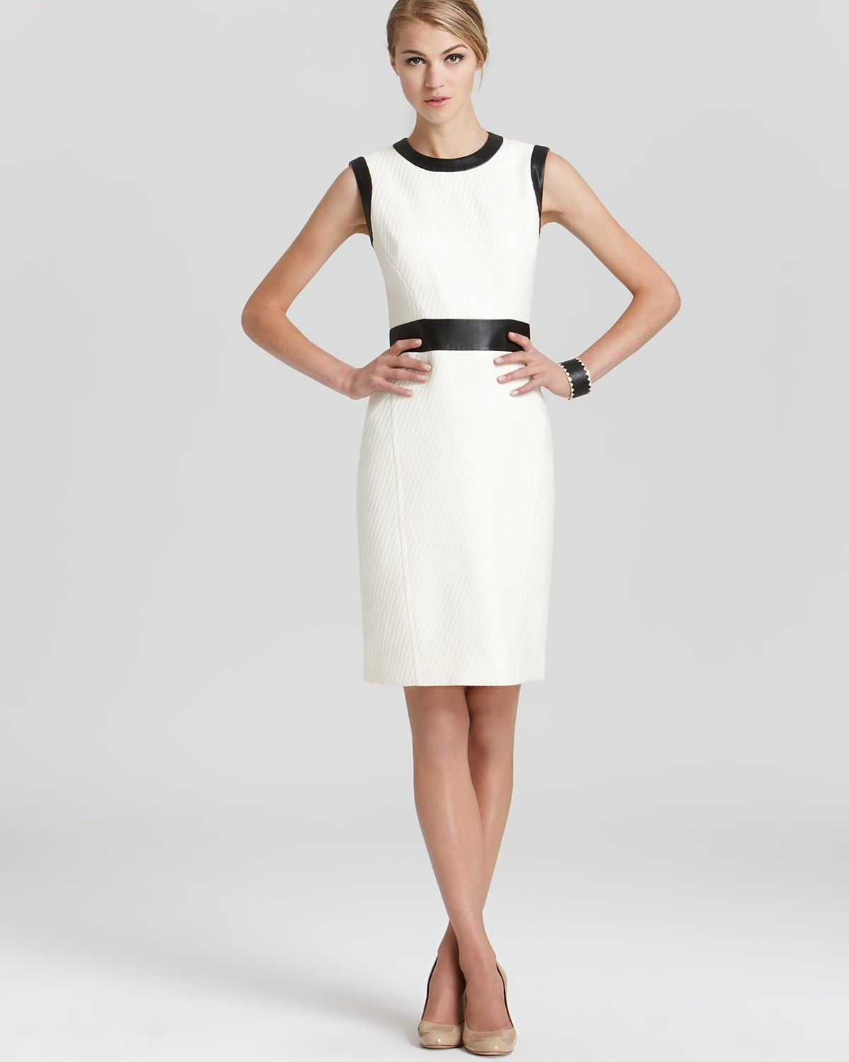 Milly Combo Dress - Wool with Leather Trim | Bloomingdale\'s ...