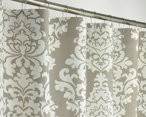 78 LONG Taupe Damask Shower Curtain 72 X Long By PondLilly