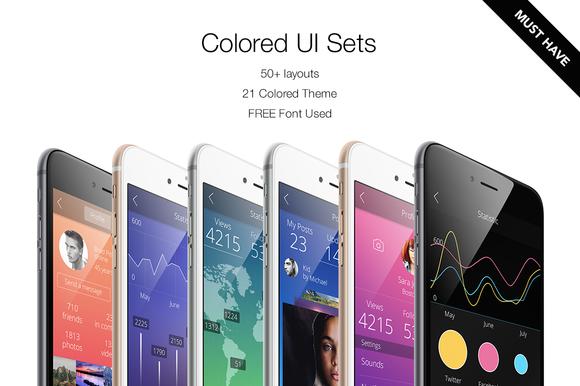 ** $19   Colored UI Sets 21 Color ~ Web Elements on Creative Market