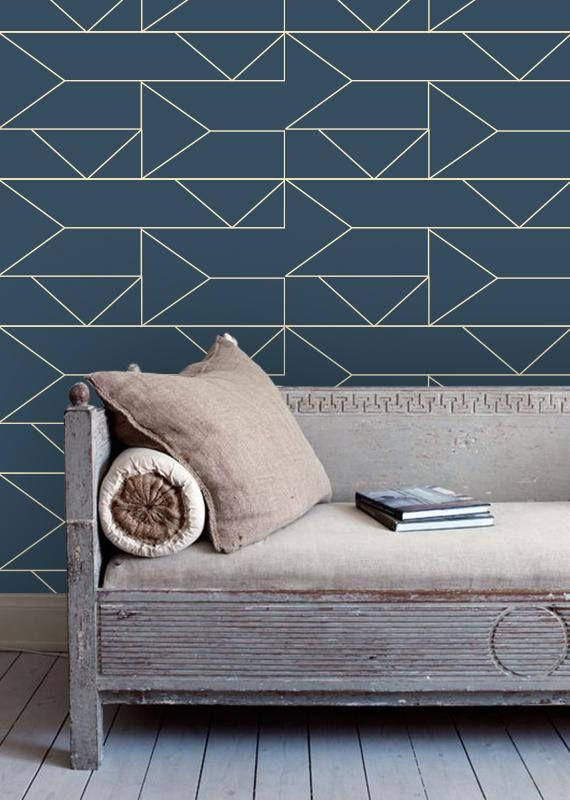 Navy Geometric Removable Wallpaper X2f Self Adhesive X2f Regular Wallpaper Walls Decor Geometric Removable Wallpaper Removable Wallpaper