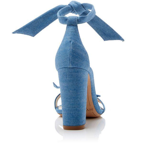 Alexandre Birman Clarita Bow-Embellished Denim Sandals (11.272.135 VND) ❤ liked on Polyvore featuring shoes, sandals, alexandre birman shoes, alexandre birman sandals, denim shoes, blue denim sandals and alexandre birman