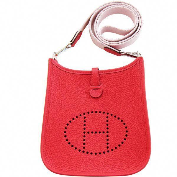 671dee2b6c9d Pre-Owned Hermes Rouge Pivoine Evelyne Rose Sakura Canvas Strap TPM ...
