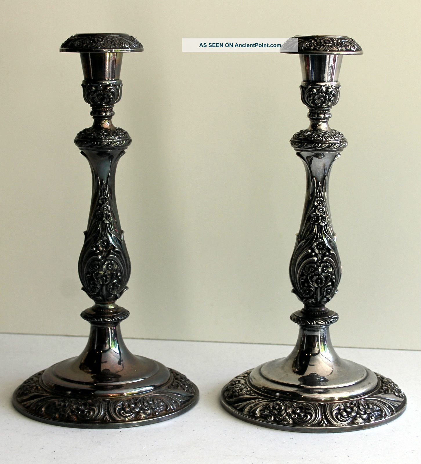 Vintage Pair 1847 Rogers Bros - Heritage Silver Plated Candle Holder Candelabra Photos and Information in AncientPoint & Vintage Pair 1847 Rogers Bros - Heritage Silver Plated Candle ...