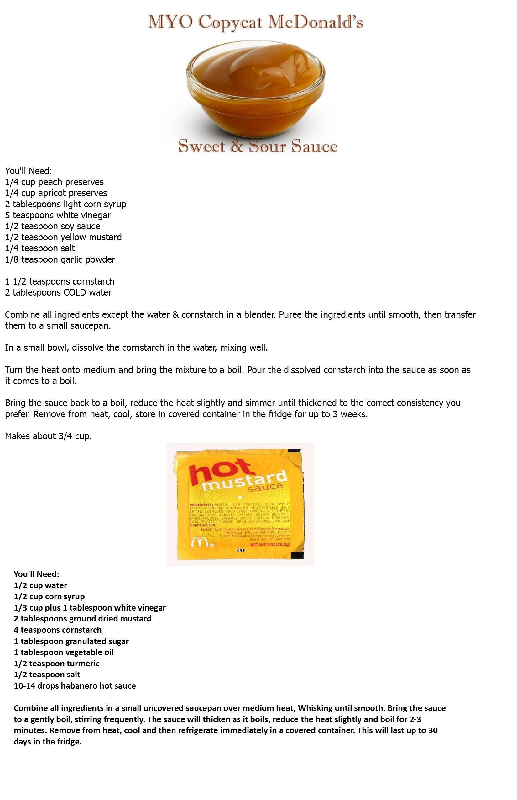 Mcdonalds Sweet Sour And Hot Mustard Recipes Mustard Recipe Sweet N Sour Sauce Recipe Mcdonalds Hot Mustard Sauce Recipe