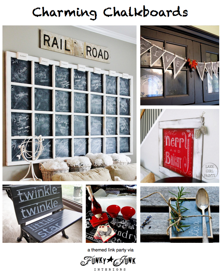 118 + CHARMING CHALKBOARDS, A Themed Linkup Party Via Funky Junk Interiors.