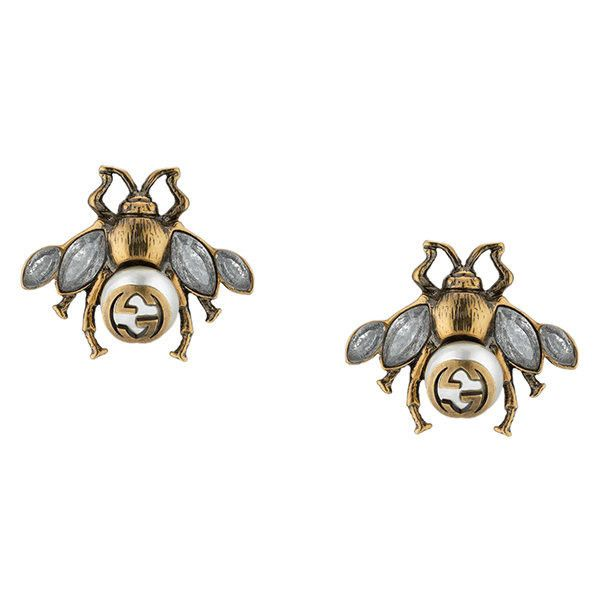 69596626127 Gucci Bee earrings with crystals ( 370) ❤ liked on Polyvore featuring  jewelry