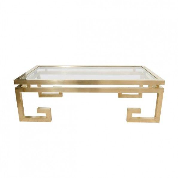 Rectangular Brass Coffee Table With Greek Key Motif