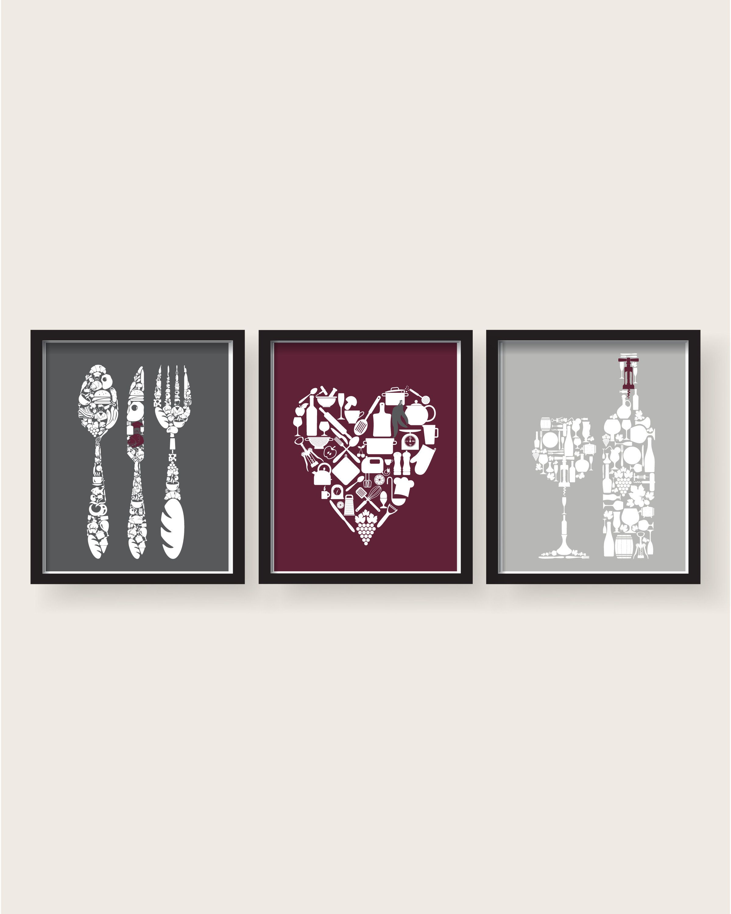 Burgundy Gray Kitchen Decor Kitchen Wall Art Kitchen Prints
