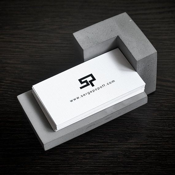 Concrete Business Card Holder Handmade Original Design Etsy Business Card Stand Business Card Holders Concrete Crafts
