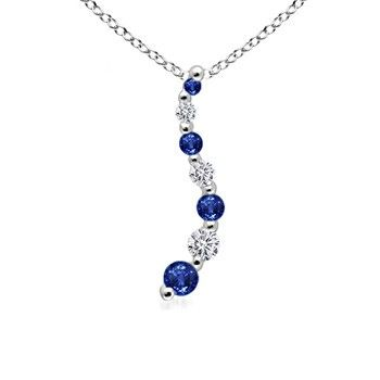Angara Sapphire and Diamond Necklace in White Gold 5JuOsYTJsV
