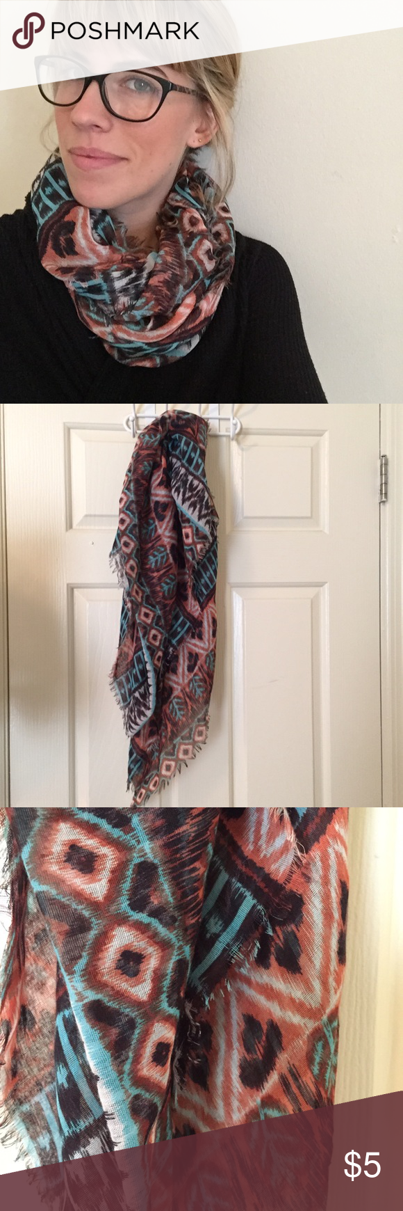 Patterned scarf This scarf features a tribal pattern comprised of blues and reds on a black background. It adds a splash of color to any neutral look! Rue 21 Accessories Scarves & Wraps