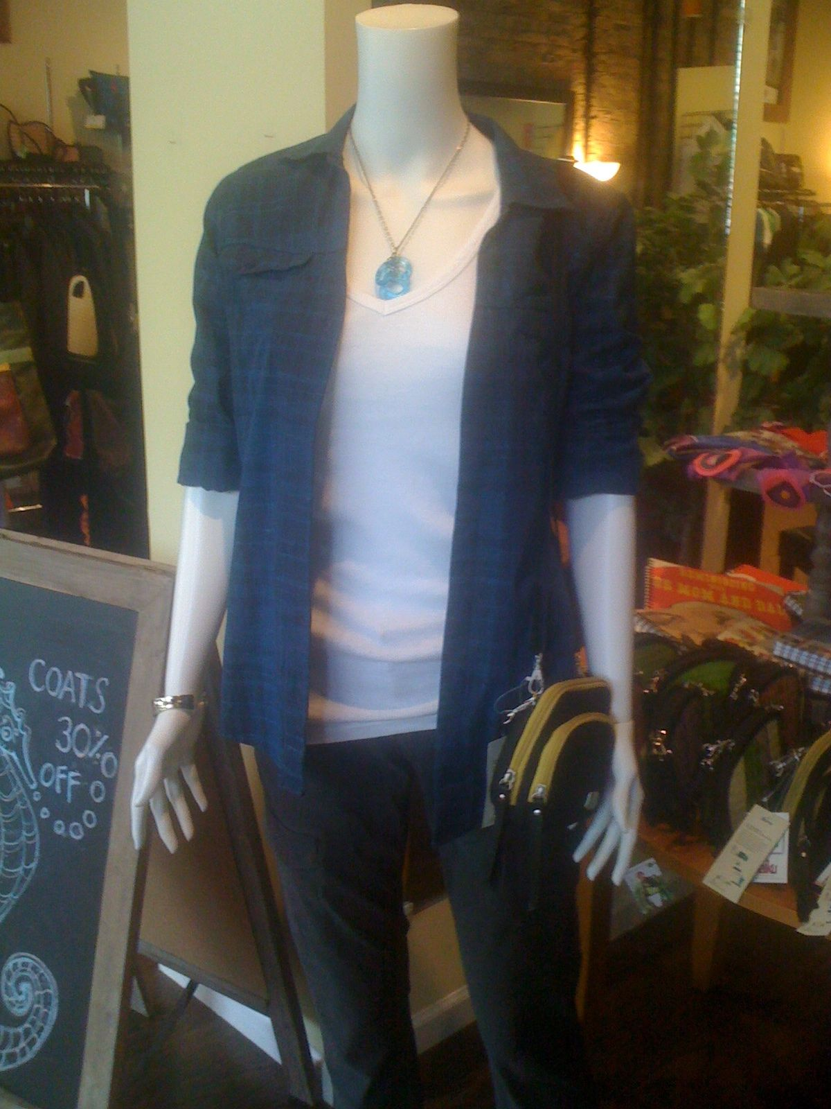 Celeste put this amazing look together. It's casual chic at it's best complete with a necklace from Smart Glass, made from recycled sake bottles.