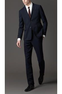 Blue Slim Fit Wool Mohair Suit $1295