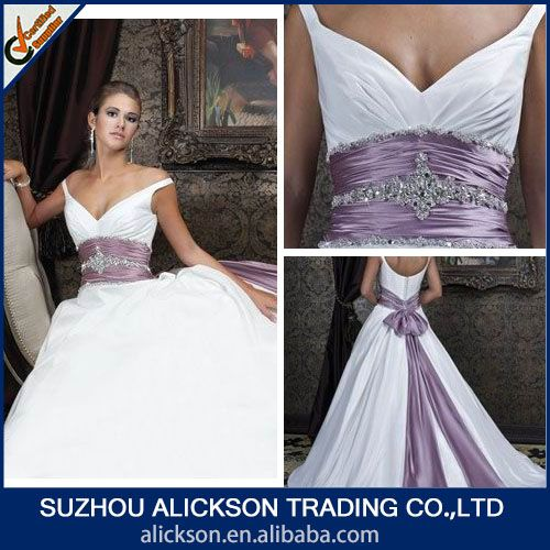 Source Modern Off Shoulder Ball Gown Crystal Diamond Purple And White Wedding Dresses On M