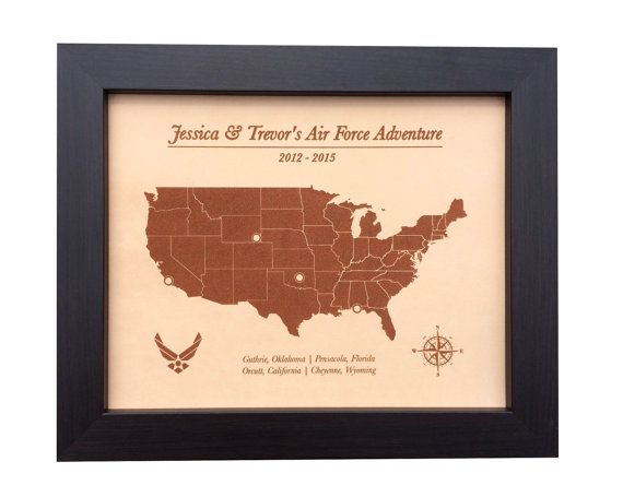 leather anniversary leather map- laser engraved- United States - 3rd anniversary
