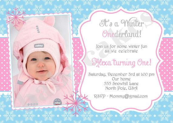 Winter ONEderland Snowflake 1st Birthday Invitation invite pink