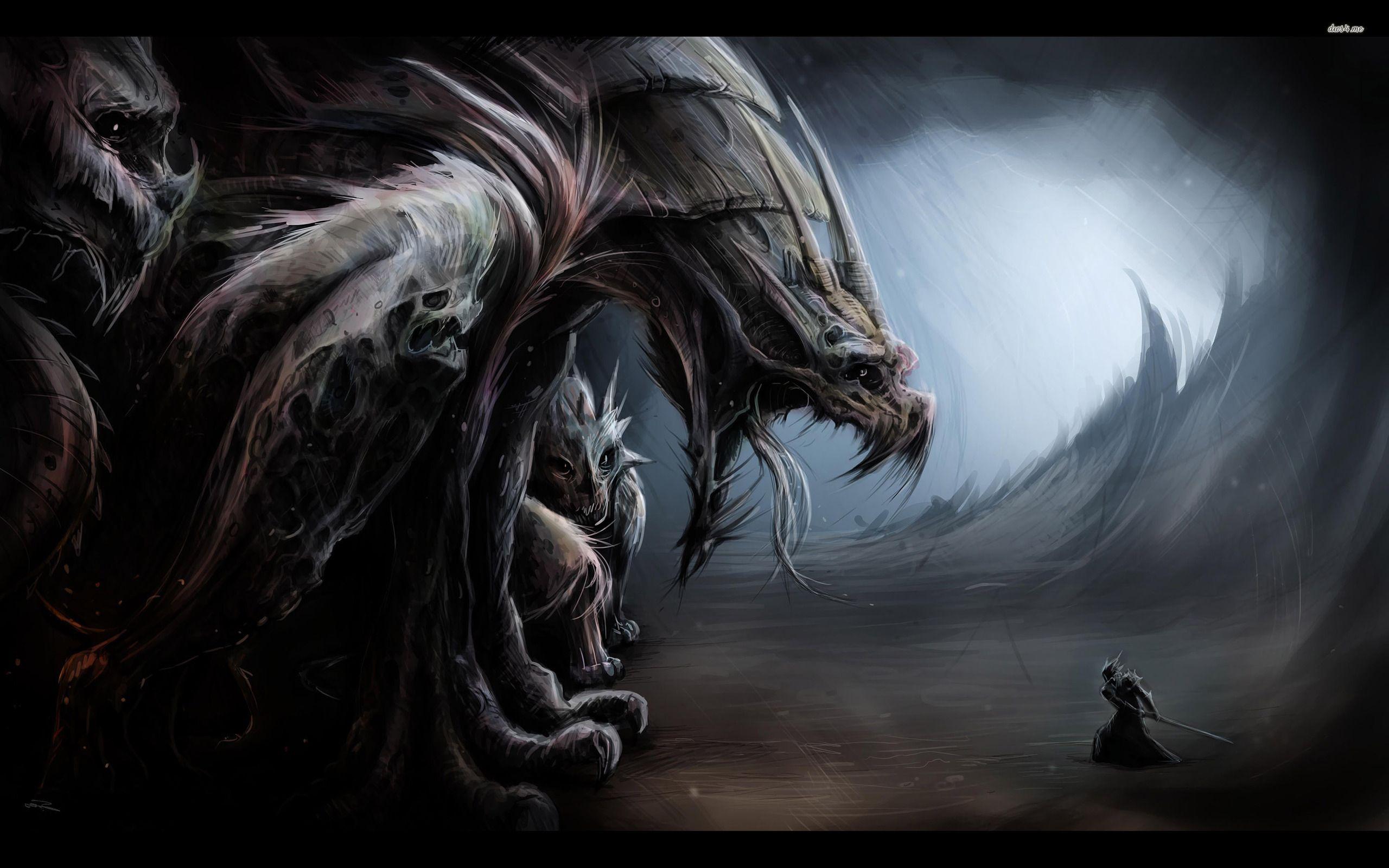 Warrior Battling The Giant Monsters Wallpaper Fantasy Wallpapers