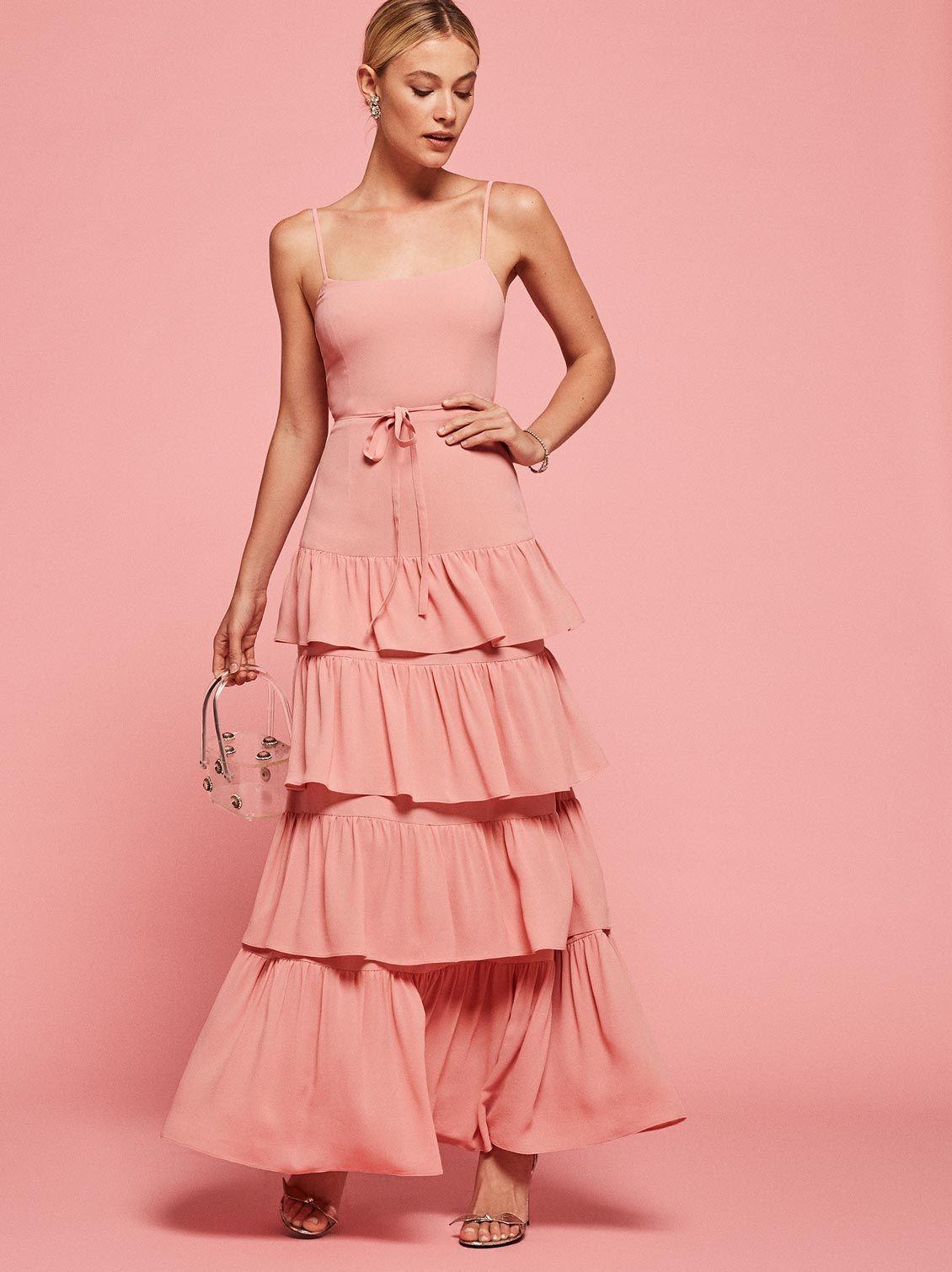 4047f1f18be9 Foxglove ruffle maxi dress blush pink Reformation
