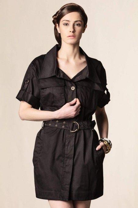 Vestito cotone con tasche nero