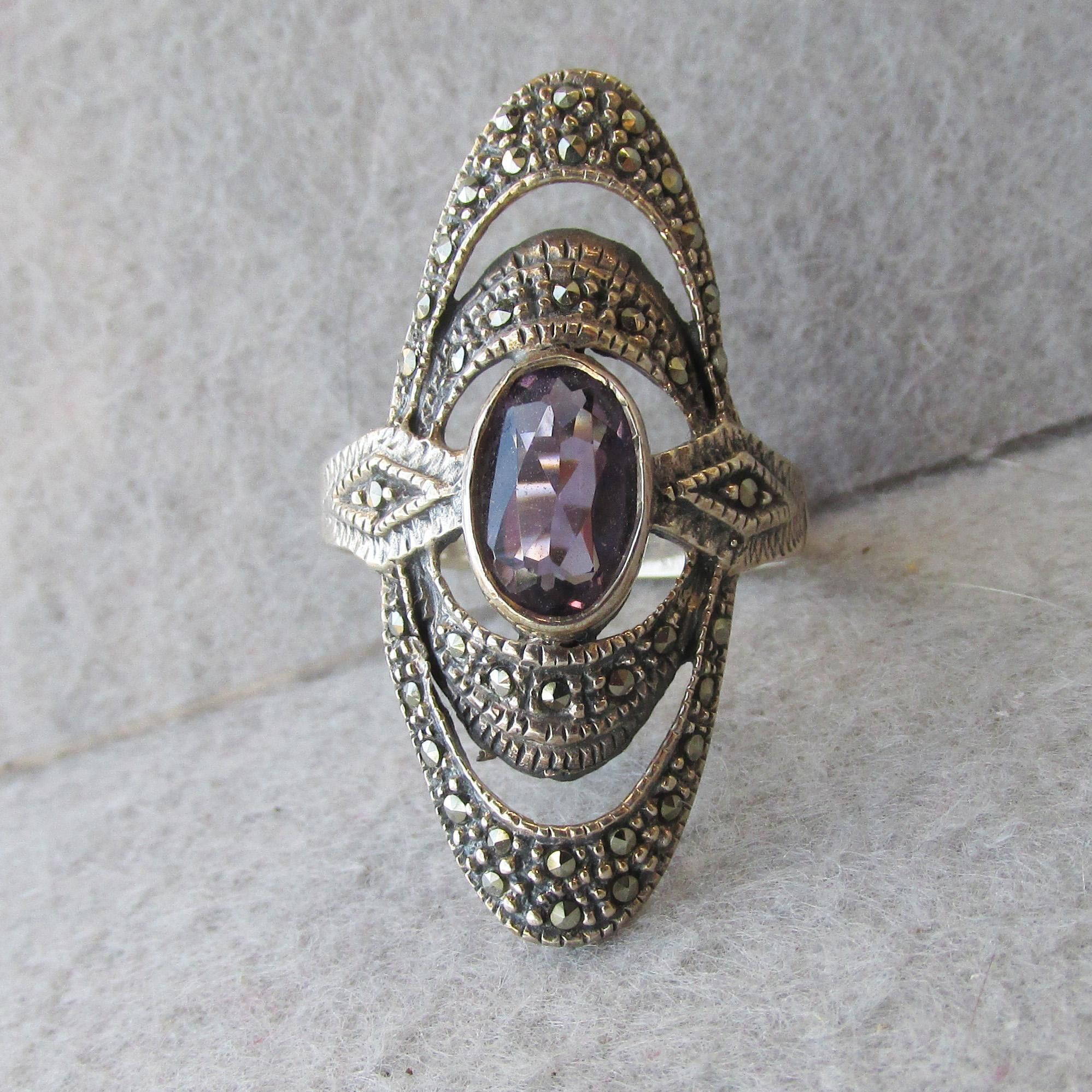 silver single love marcasite thailand novica p ring stone rings in sterling and believe garnet from