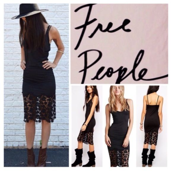 "Free People Black Lace Trim Slip Dress.  NWT. Free People Black Lace Trim Slip Bodycon, 92% polyester, 8% spandex, trim is nylon and spandex, washable, 17"" armpit to armpit ( 34"" all around), 41"" length, a curve hugging slip cut from slinky jersey and detailed with laser-cut lace trim, V neckline and square back, measurements are approx. ...No Trades... Free People Dresses"