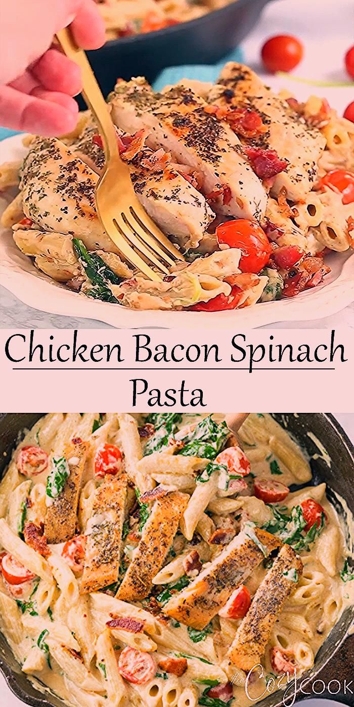 This easy Chicken Bacon Spinach Pasta has the best creamy Alfredo sauce and will quickly become you
