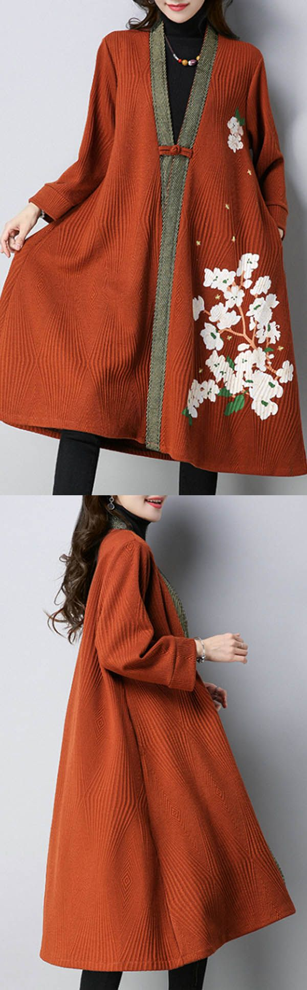 Plus size casual women floral printed knitted cardigan loose style