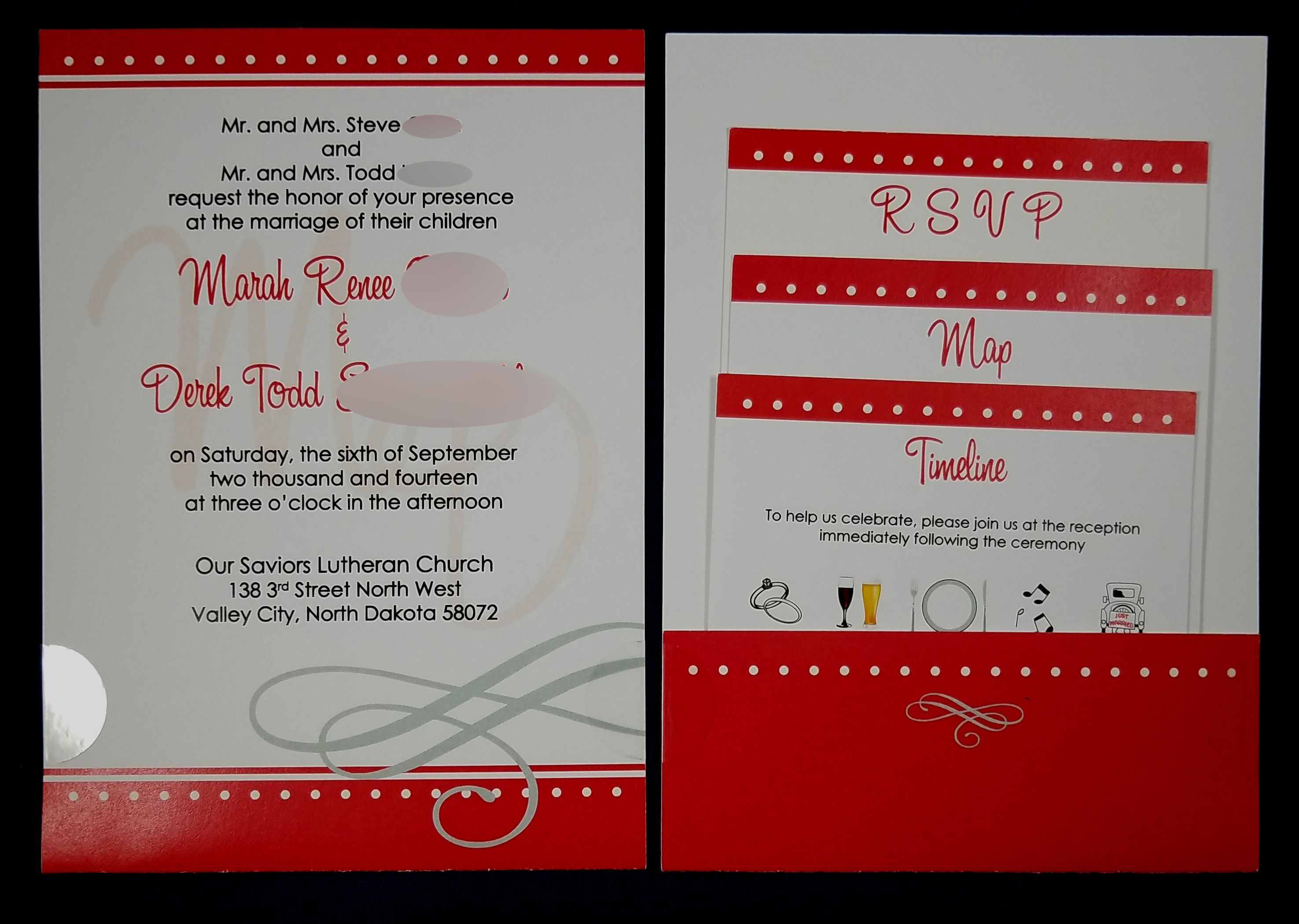 Red theme w white dots invite, rsvp, detailed map & timeline ...
