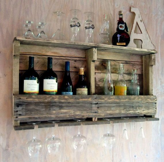 Wine rack wine shelf bar shelf liquor shelf rustic for Diy liquor bar