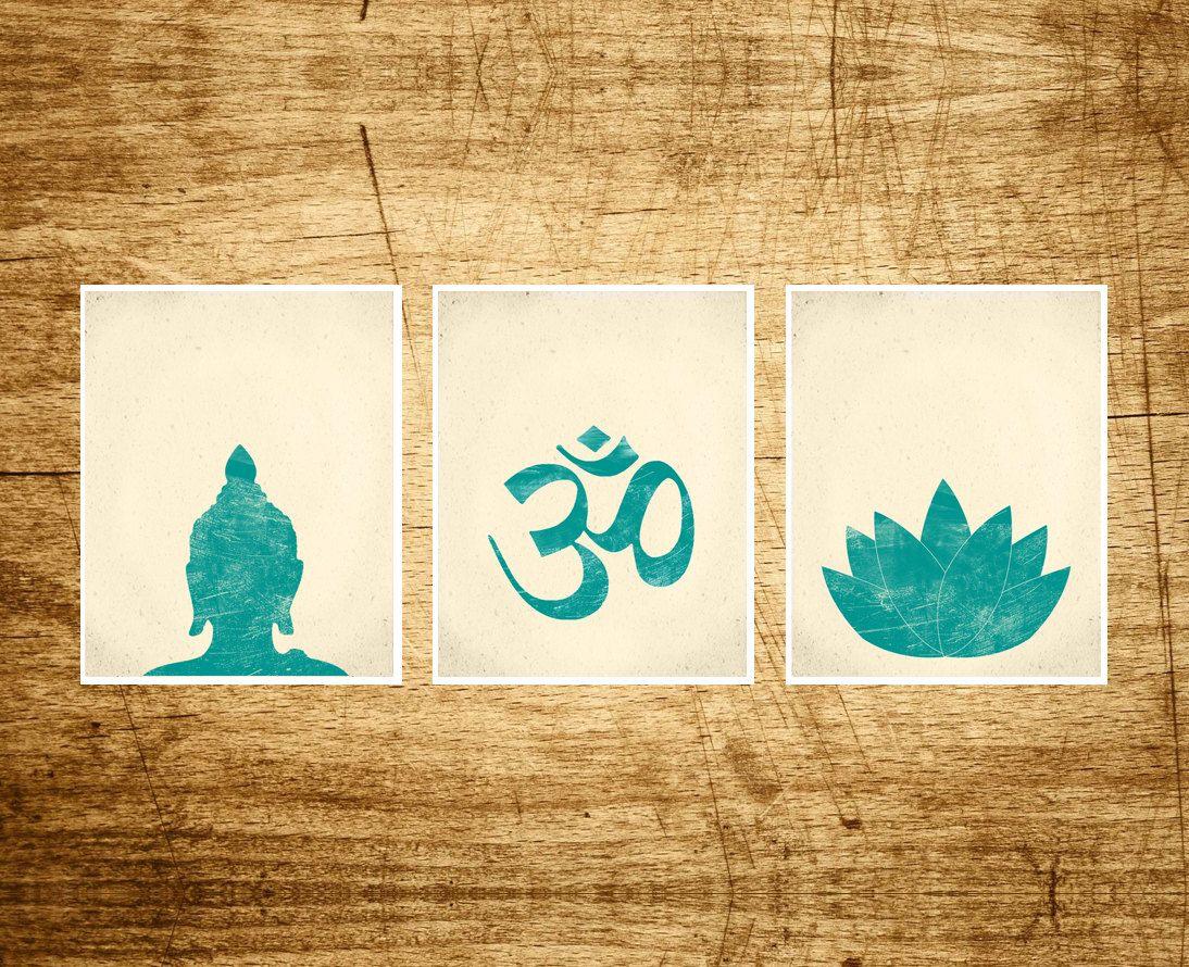 Namaste Set 3 Prints Buddha Lotus Om Art Prints Modern Yoga Zen ...