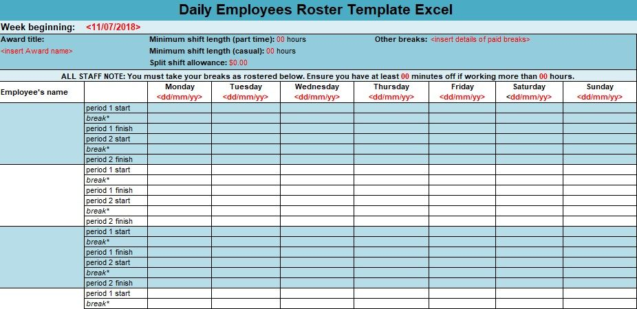 daily employees roster template excel