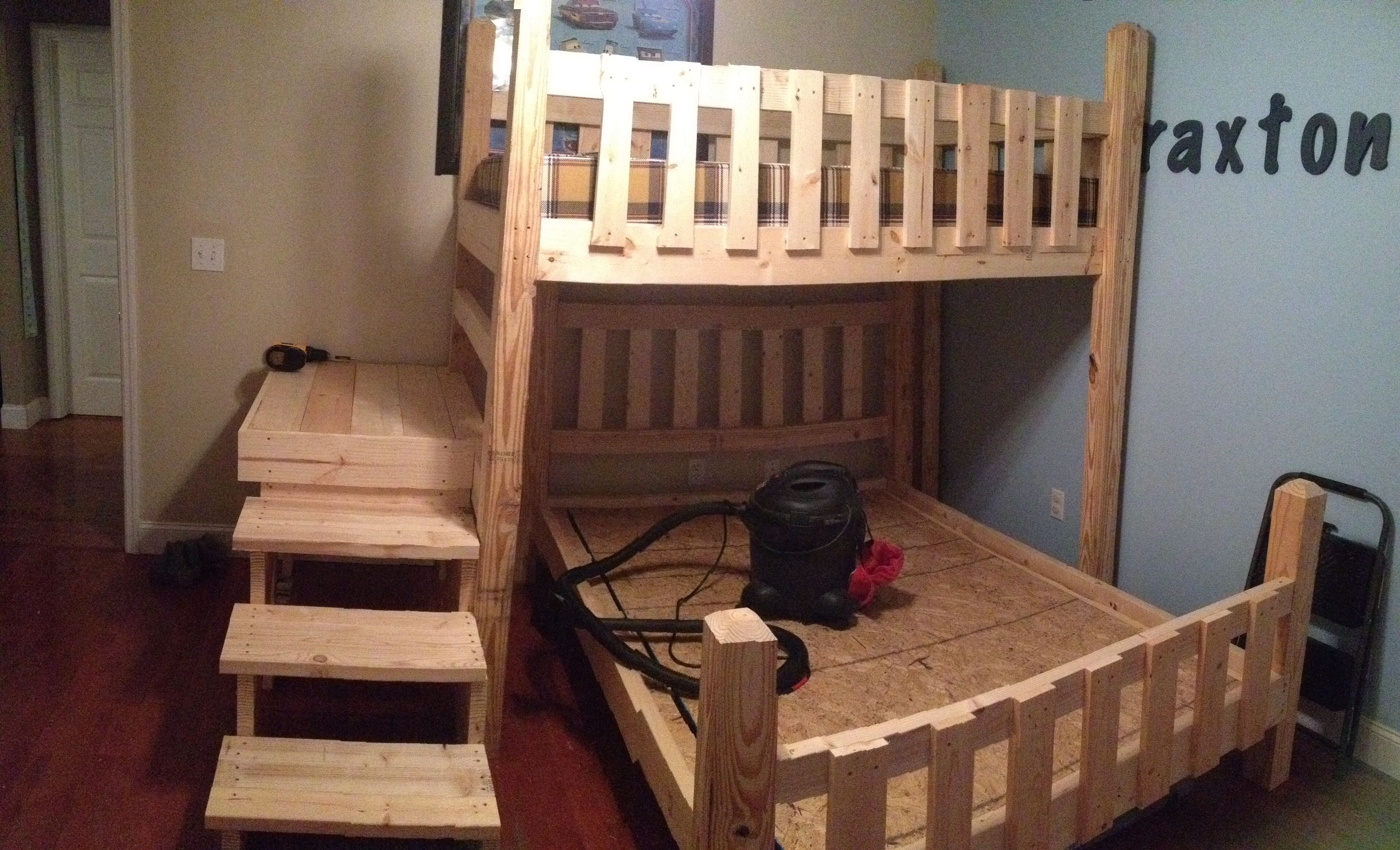 Diy bunk beds with steps and platform twin over full
