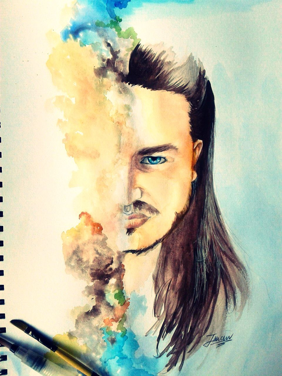Aquarelle Portrait Painting Handmade Drawings And Portraits In