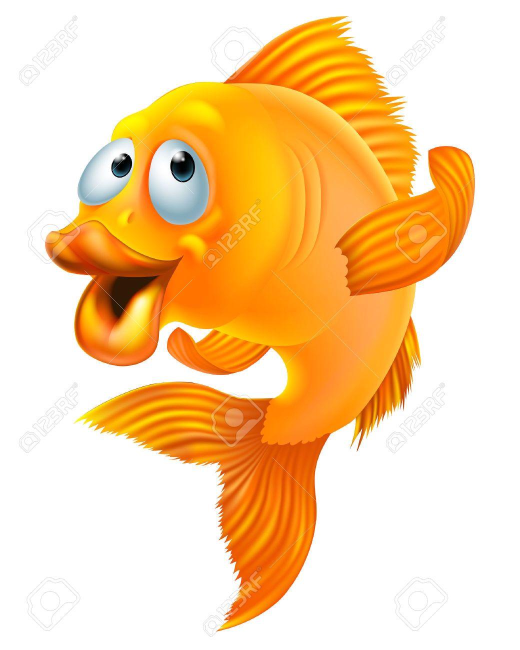 Ilustracin de un pez de dibujos animados color amarillo Fondo