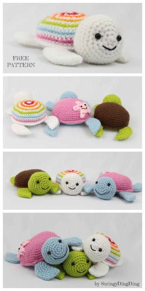 Crochet Spring Turtle Anigurumi Free Patterns #crochetturtles
