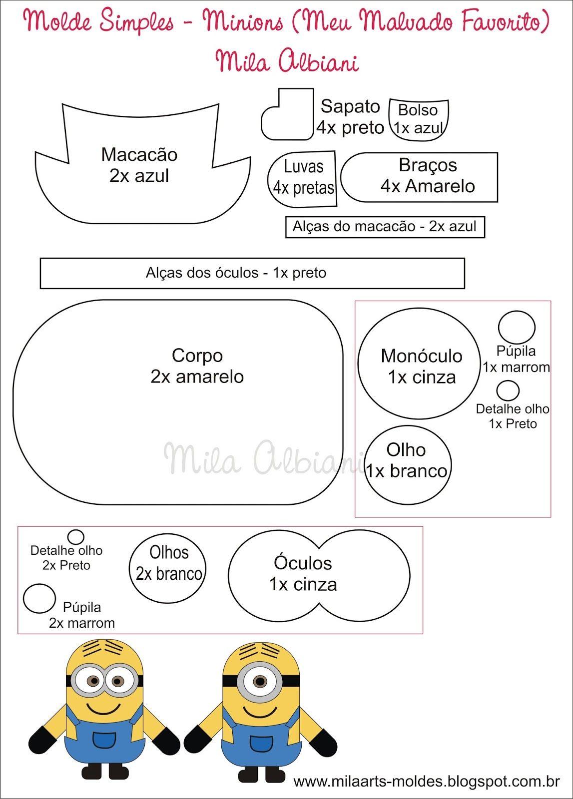 Molde Minions / Meu Malvado Favorito. | Felt Crafts | Pinterest ...