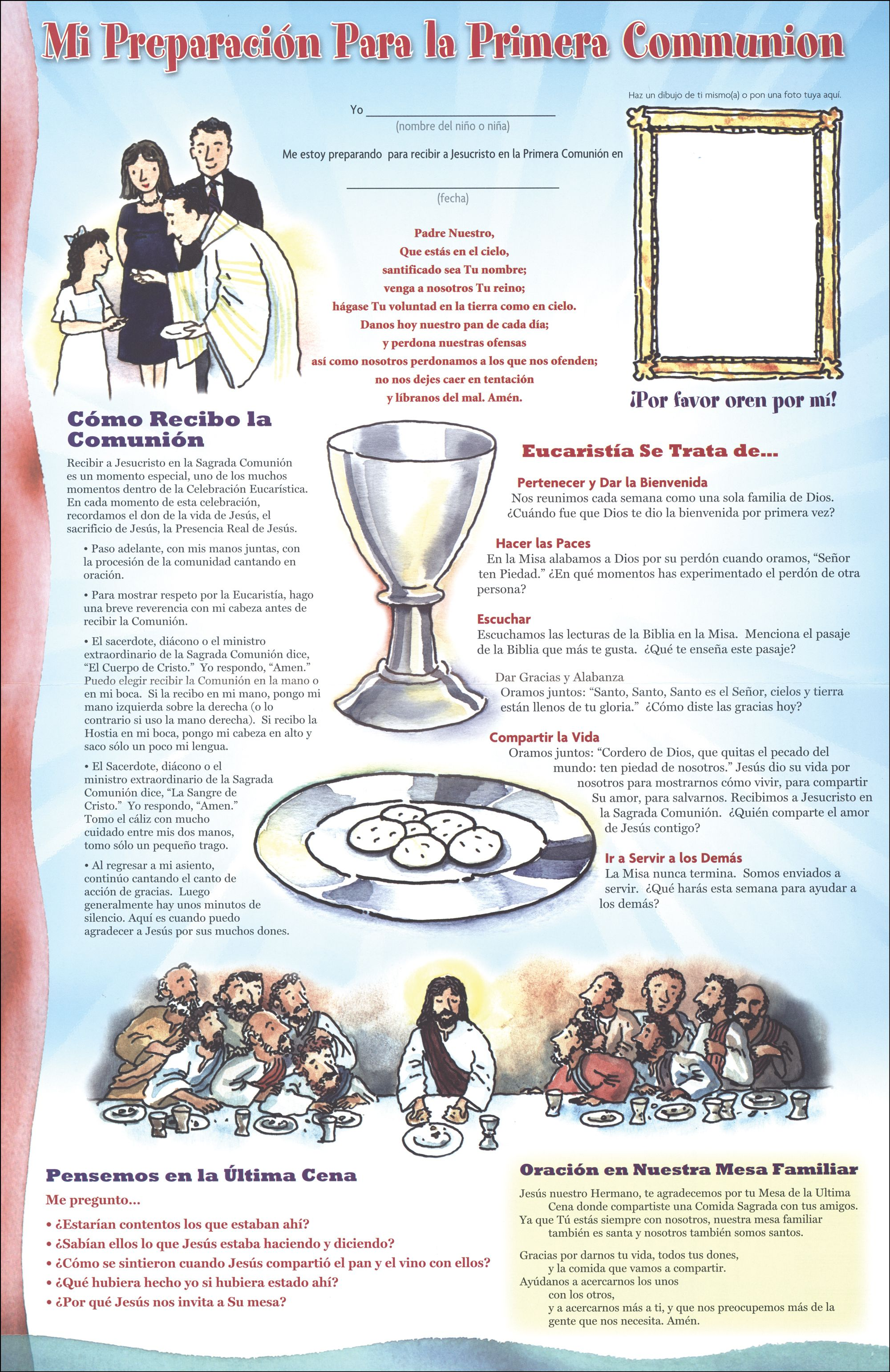 Mi Preparación Para La Primera Comunión Cartel Familiar 10 Pack First Communion Communion Catholic Catechism
