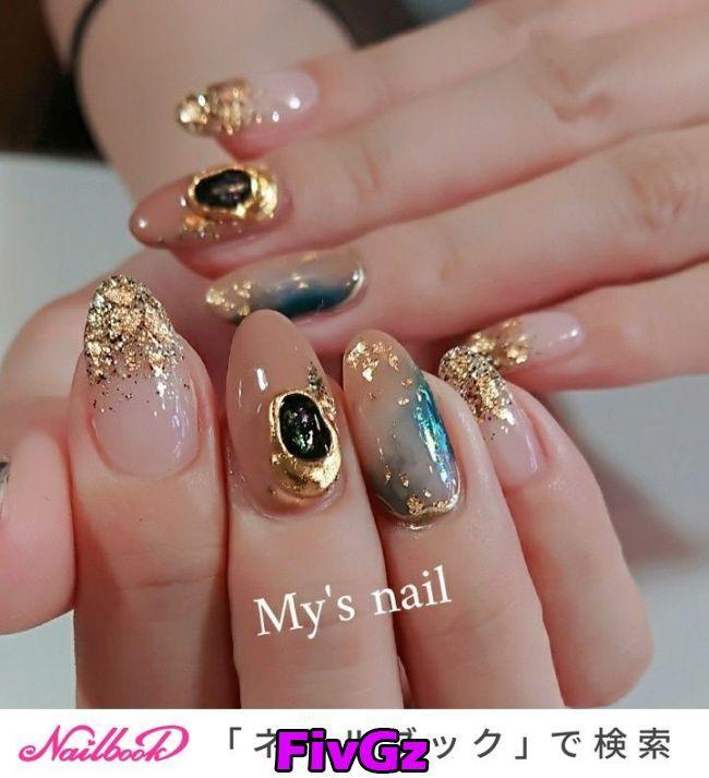 Pin By Mai Yee Ting On Nail Art In 2020 Stone Nail Art Japanese