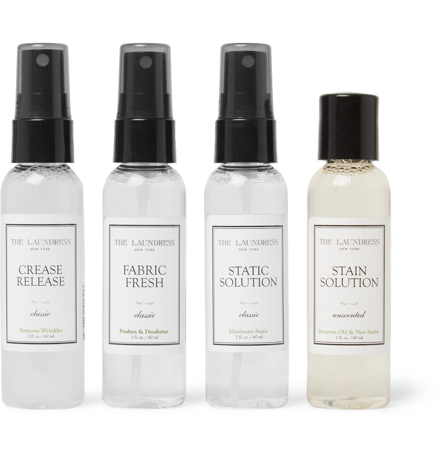 Keep clothing fresh through long-haul travel with The Laundress' handy kit. Replete with a laundry bag to separate clean and dirty clothes, it comes with TSA-approved bottles of the brand's best-selling solutions. , Scented with Sweet Musk, Sandalwood and Citrus, Fabric Fresh deodourises with a quick spritz, and can also be used on hotel furnishings, Spills won't be a worry with the unscented, non-toxic Stain Solution , Take care of silk, synthetics and trickier blends using the highly concentra
