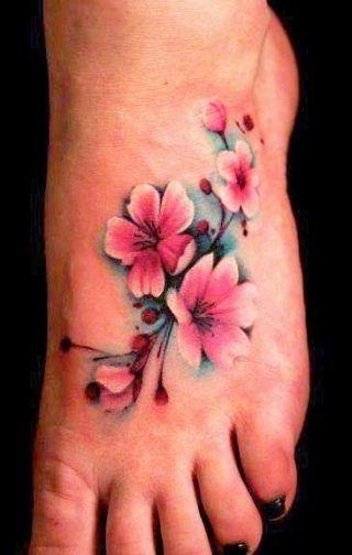 New Flowers Tattoo Foot Cherry Blossoms Ideas