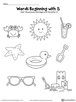 Color The Pictures Words Beginning With Letter S  Printable