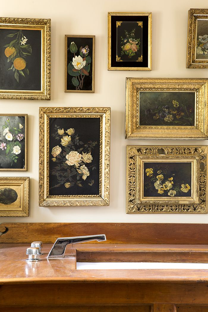 Three Decades Of Antiques At Home In Lafayette New Jersey Design Sponge Gold Frame Gallery Wall Gold Gallery Wall Frames On Wall