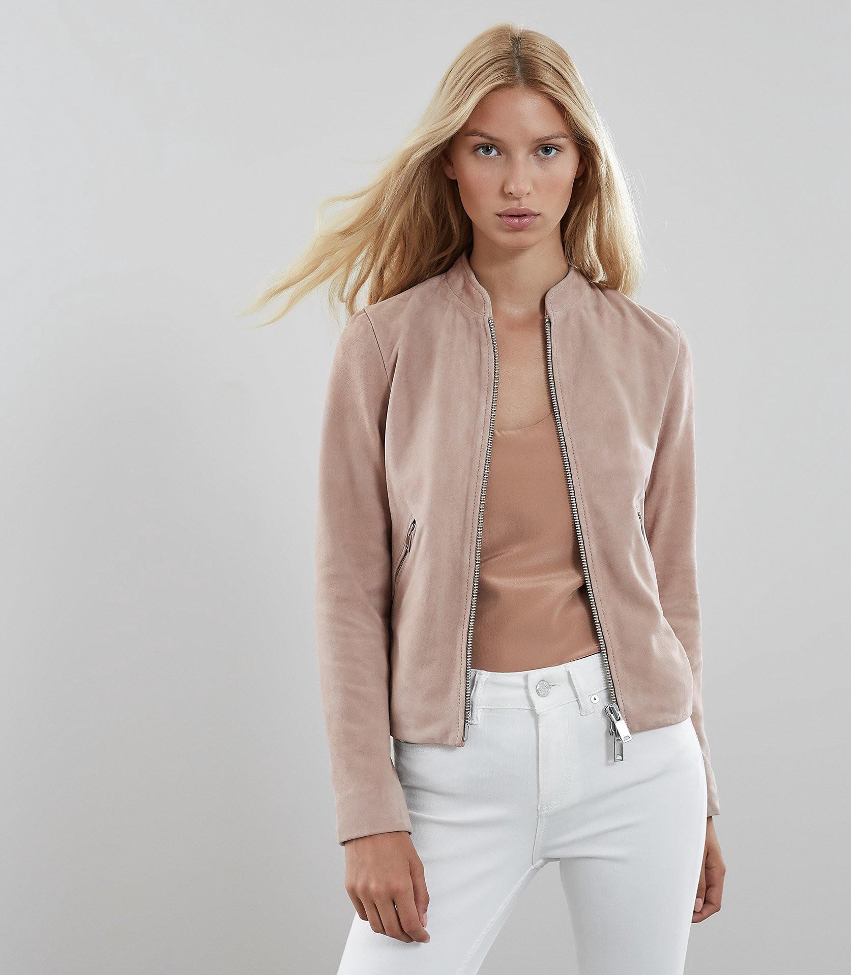Reiss Aries Suede Jacket Neutral 2 Coats Jackets Women Suede Jacket Women Jackets [ 1918 x 1673 Pixel ]
