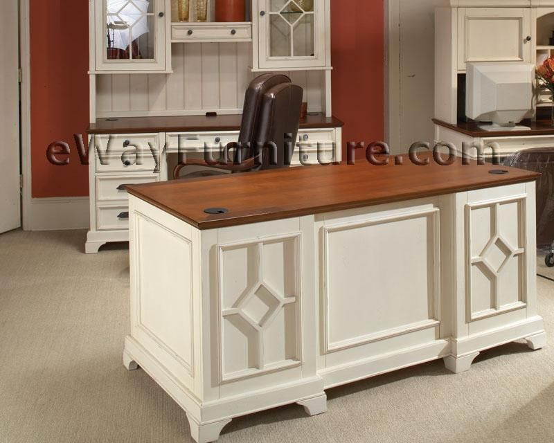 White Office Furniture Collections Distressed 66 Inch Executive Home Desk