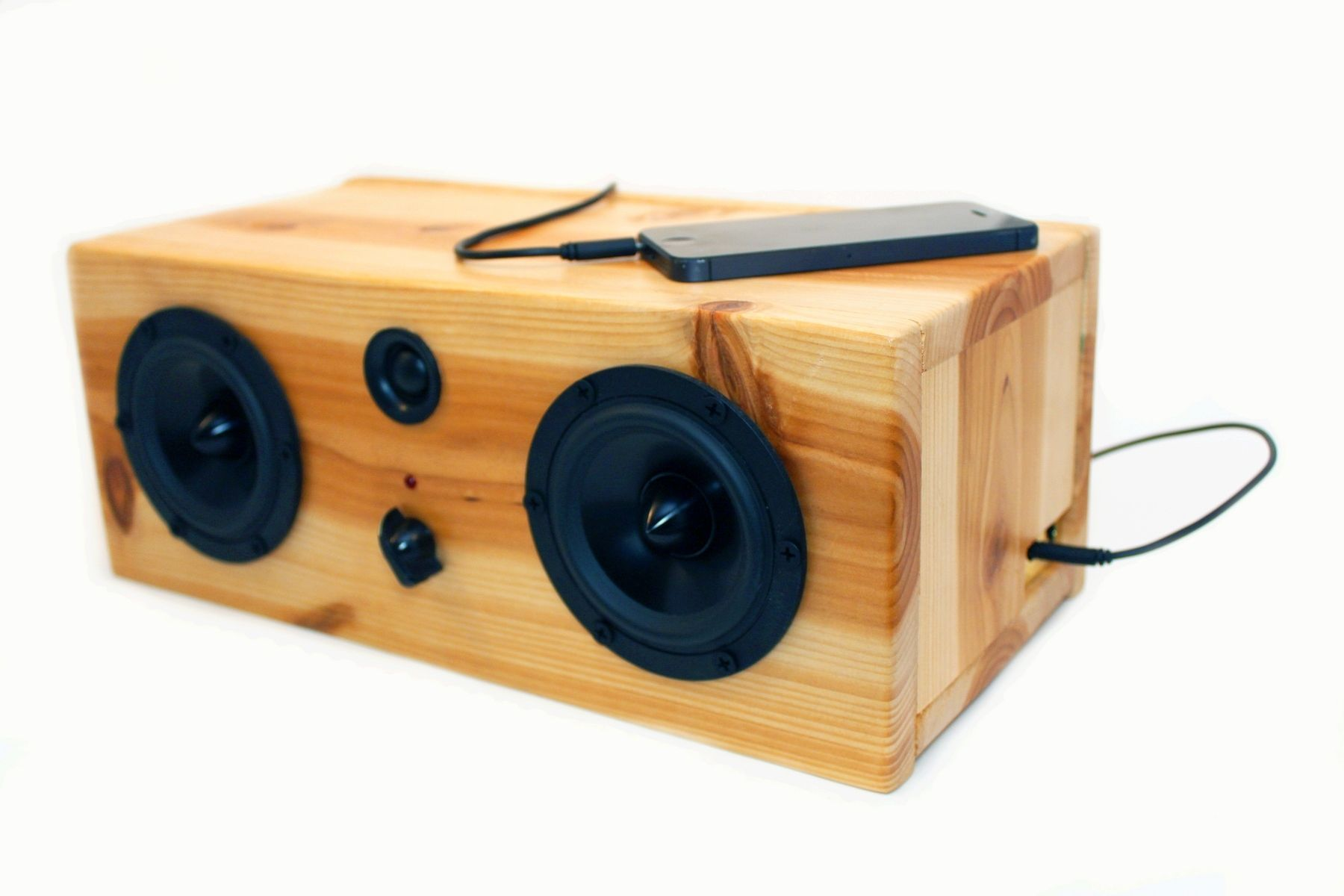 Custom Made Bluetooth Speaker System Big Pine Box Wood