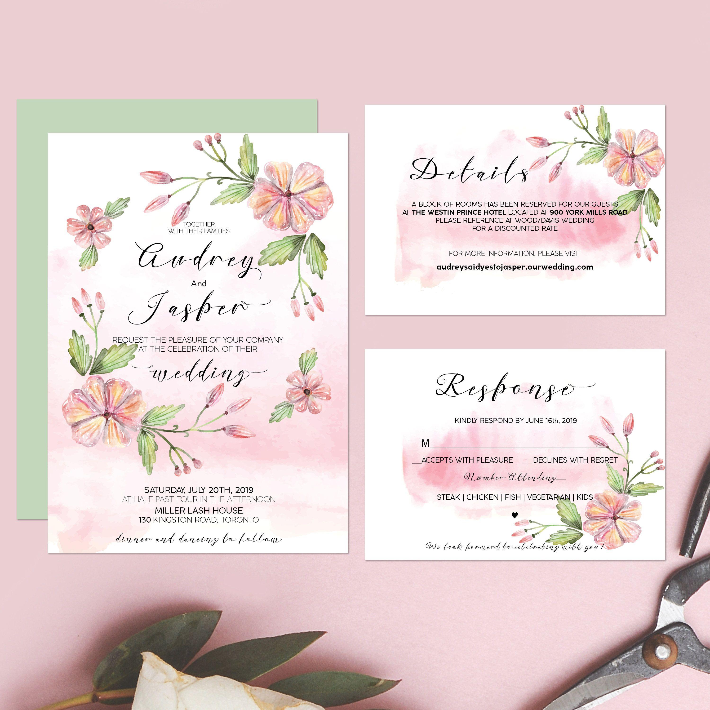 Printable Wedding Invitation Watercolor Floral Wedding Suite ...