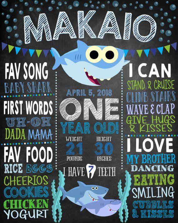 Baby Shark 1st Birthday Chalkboard Sign Any Age Totally Etsy 1st Birthday Chalkboard Birthday Chalkboard Sign Birthday Chalkboard