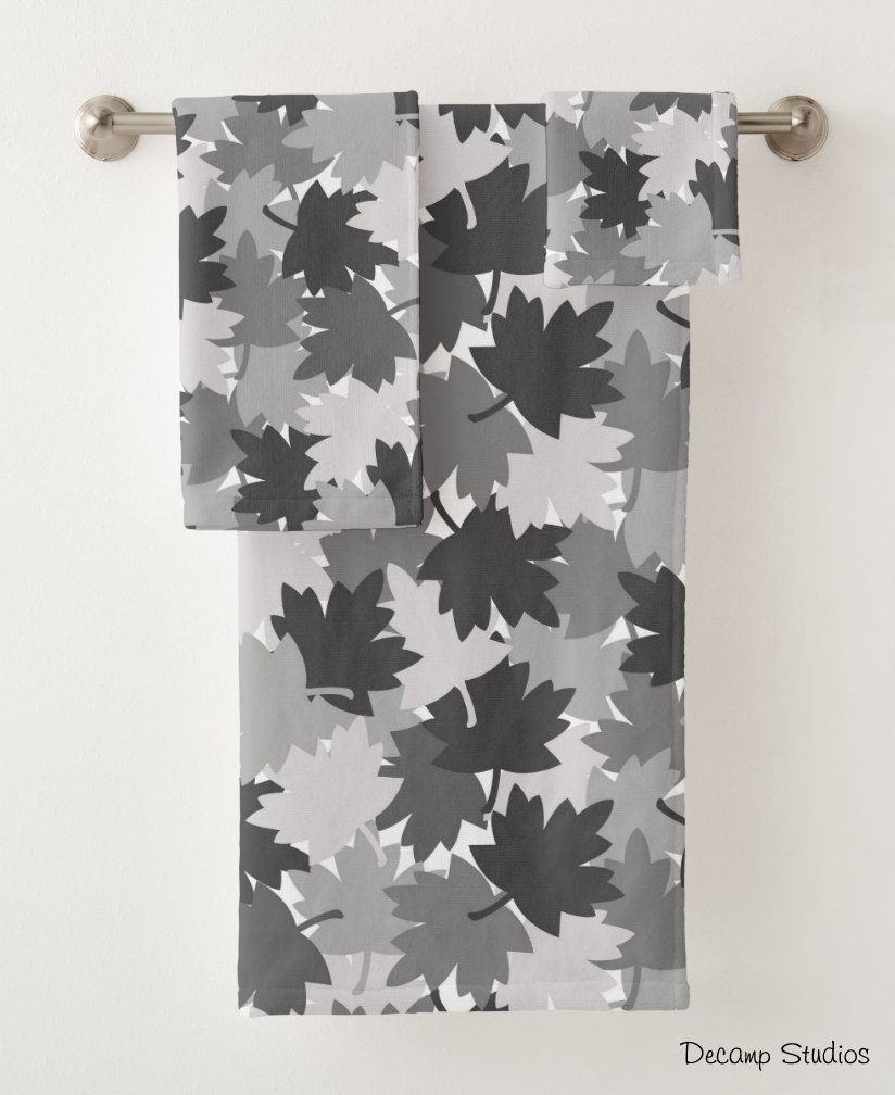 Bathroom Towel Set Gray Grey Camo Leaves Maple Oak Repeat